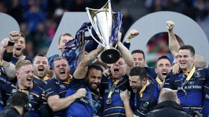Leinster's Isa Nacewa and Jordi Murphy lift the European Rugby Champions Cup trophy