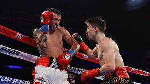Michael Conlan on the frontfoot against Ibon Larrinaga