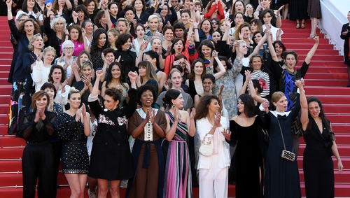 Women film-makers mounted a red carpet protest at the Cannes Film Festival