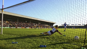 Donal Kingston of Laois scores a penalty against Wexford at Innovate Wexford Park