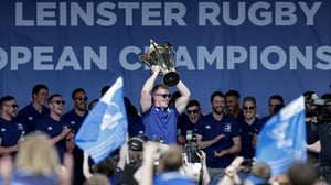 Dan Leavy lifts the cup in Donnybrook