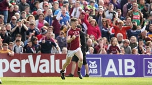 Johnny Heaney celebrates his goal against Mayo in the Connacht SFC