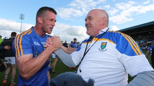 Rory Finn and John Evans celebrate at the final whistle after Wicklow's win over Offaly