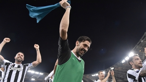 Gigi Buffon leads the celebrations for Juventus
