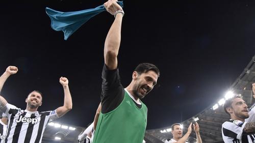 Gigi Buffon leads the celebrations for Juventus