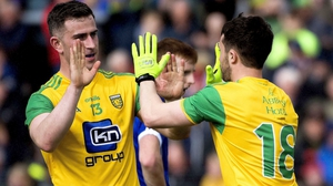 Donegal's Cian Mulligan celebrates his goal with Patrick McBrearty
