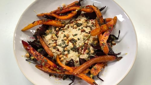 Roasted Almond Hummus with Roasted Carrots, Beetroot, Hazelnuts and Pumpkin Seeds