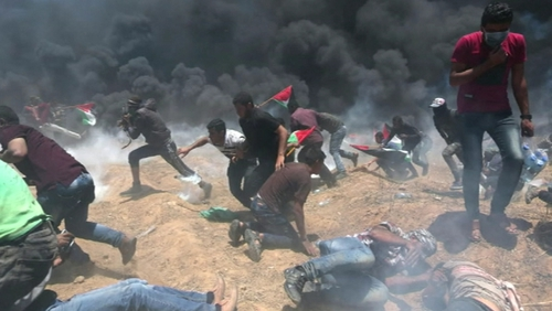 Israeli forces killed 60 Palestinians during protests on the Gaza border on Monday