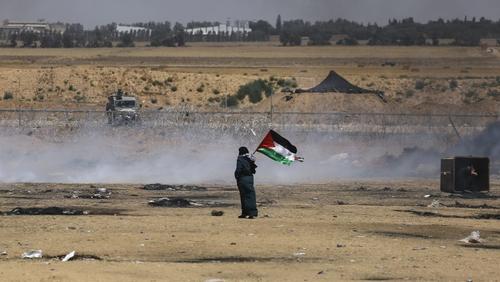 A Palestinian woman near the border in Gaza