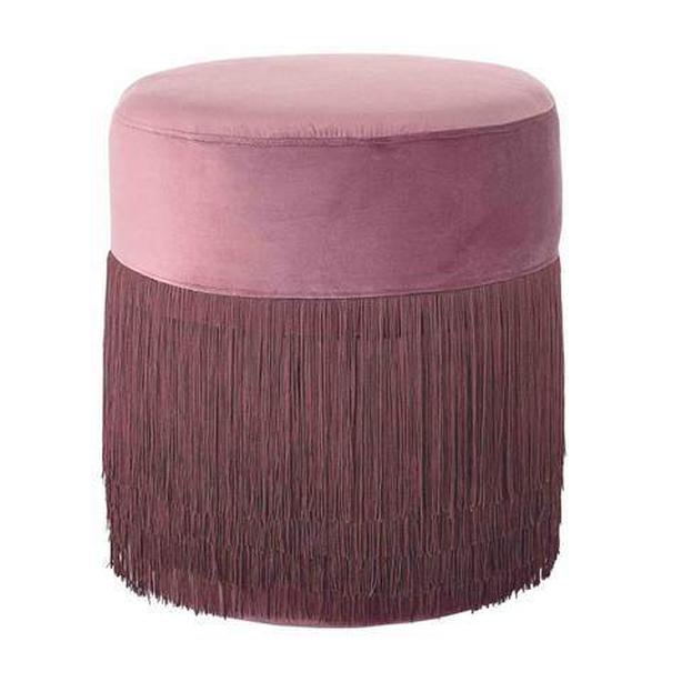 Dust rose pink velvet fringe stool