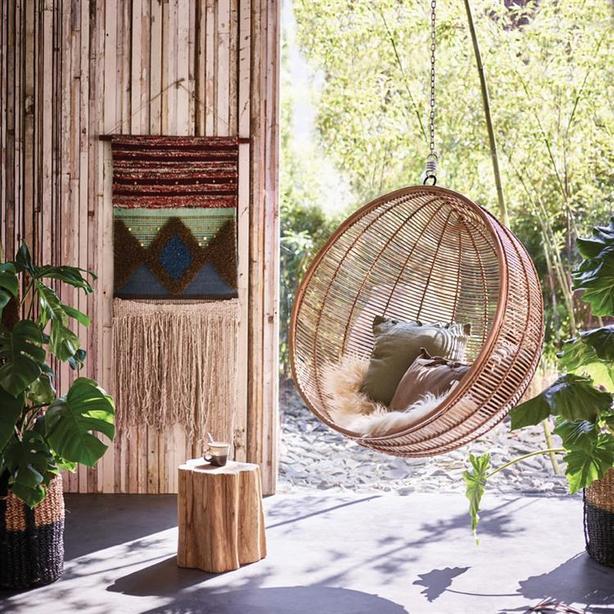Woo Design HK Living bowl rattan hanging swing chair