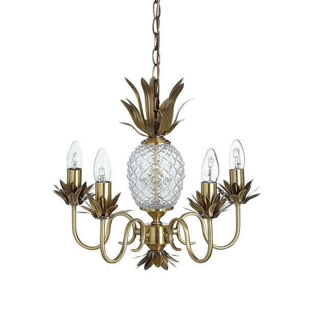 Marks and Spencer M&S puerto gold brass pineapple light chandelier