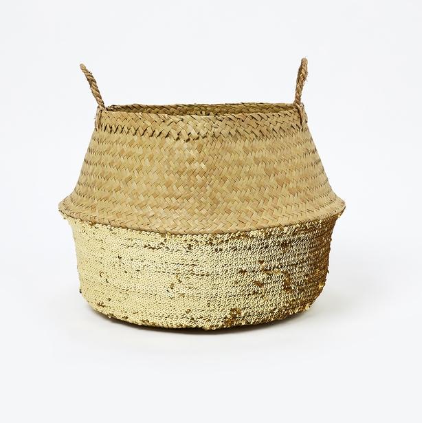 Gold sequin belly wicker basket