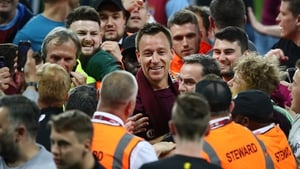 John Terry celebrates at the full time whistle during the pitch invasion following the victory over Middlesbrough in the play-off semi-final