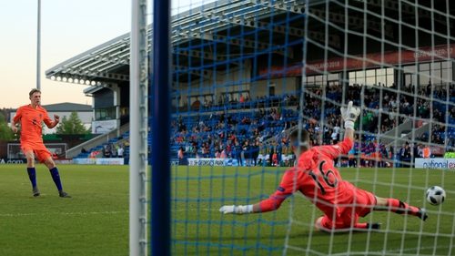 Jimmy Corcoran comes off his line as Wouter Burger scores his penalty during the shoot out