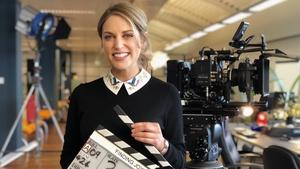Amy Huberman on the set of Finding Joy