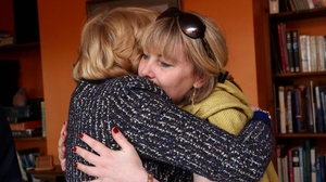 Emma Mhic Mhathúna embraces Sabina Higgins in Kerry this evening