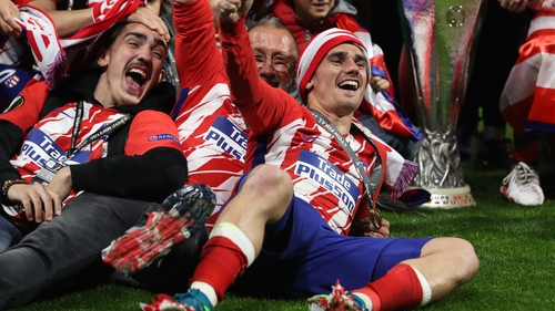Atletico fans celebrate Europa League title in Madrid