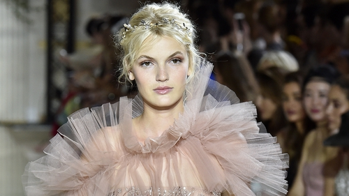 A model walks the runway during the Zuhair Murad Haute Couture