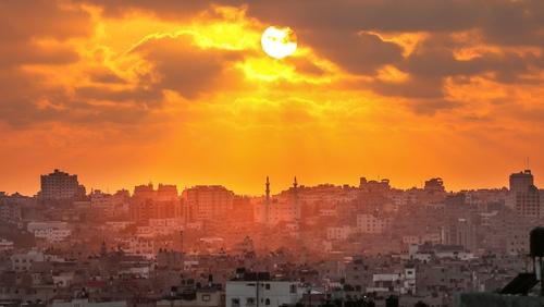 The sun sets over Gaza city