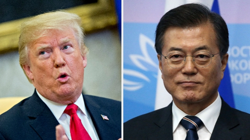 Mr Moon and Mr Trump discussed North Korea's threat  over the phone for about 20 minutes