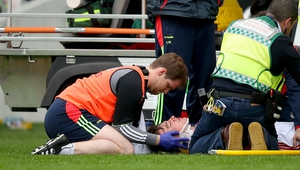 Robbie O'Flynn had a nasty collision with Clare's David McInerney and his team-mate Patrick Horgan.