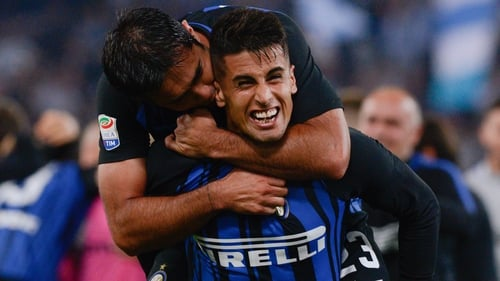Matias Vecino celebrates the victory after the Italian Serie A football match between S.S. Lazio and F.C. Inter at the Olympic Stadium in Rome, on may 20, 2018. (Photo by Silvia Lore/NurPhoto via Getty Images)