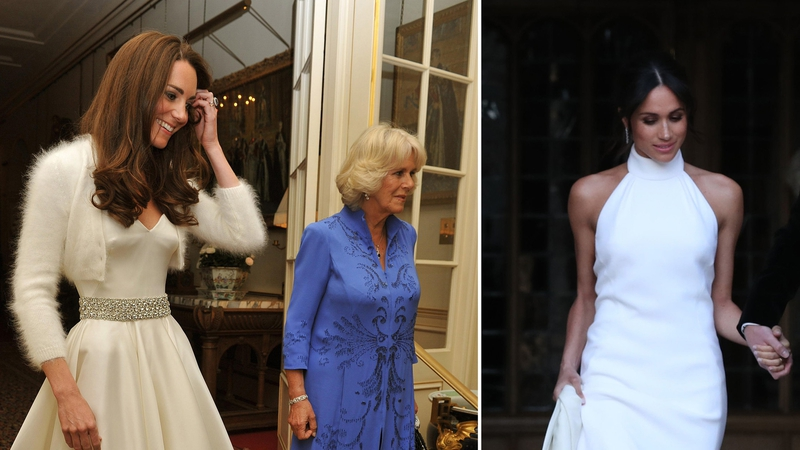 How did Meghan\'s evening wedding dress compare to Kate\'s?