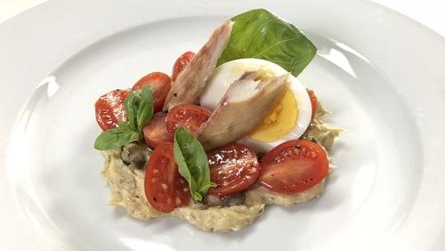 Rory's Smoked Mackerel 'Tonnato' with Heritage Tomatoes, Basil & Hen's Egg