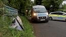 Flowers left near the scene where Jastine Valdez's body was discovered