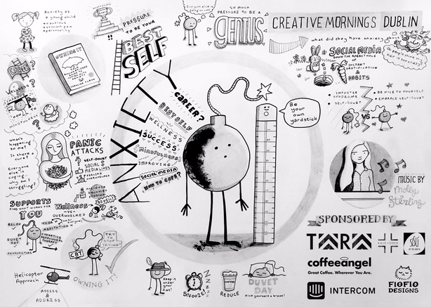 Fíona Ní Bhroin created this illustrated sketch note for a 'Creative Mornings' talk on Anxiety by Caroline Foran last year - check it out below.