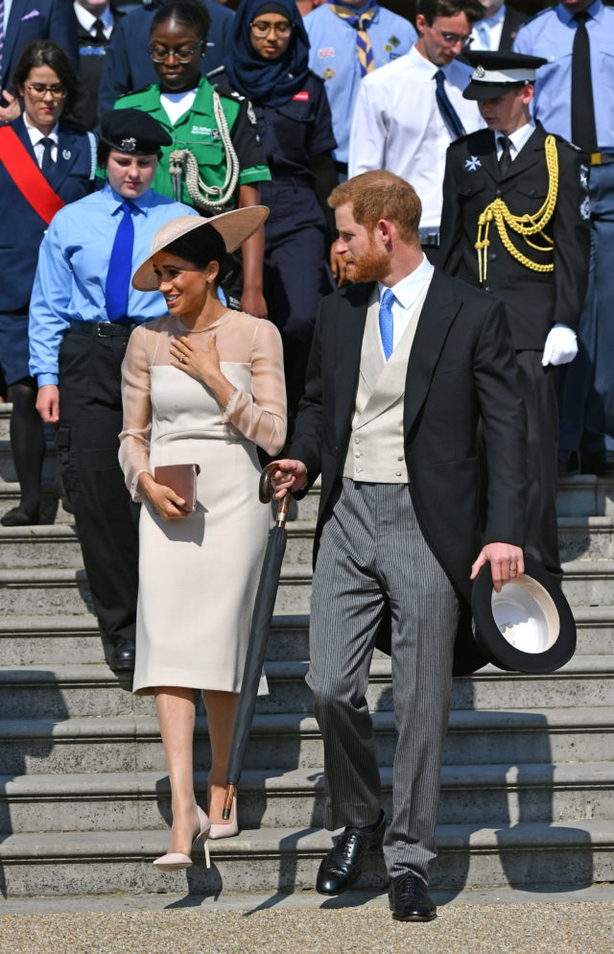 The Duke and Duchess of Sussex at a garden party at Buckingham Palace