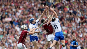 Austin Gleeson (L) and Pauric Mahony compete for the ball in last year's All-Ireland final