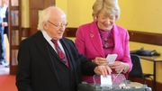 President Michael D Higgins and his wife Sabina cast their votes