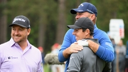 Graeme McDowell, Thomas Bjorn and Rory McIlroy share a laugh on the 11th tee