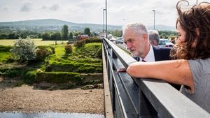Jeremy Corbyn inspects the border at Lifford