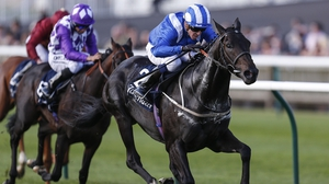 Jim Crowley riding Elarqam win The Tattersalls Stakes at Newmarket