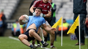 Howard holds on during the League final against Galway