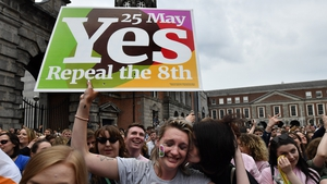 Repeal the 8th supporters celebrate as the referendum result was announced