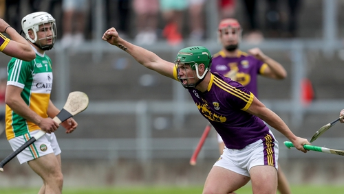 Conor McDonald celebrates scoring one of Wexford's five goals against Offaly in Tullamore