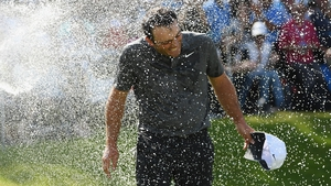Francesco Molinari is soaked with champagne