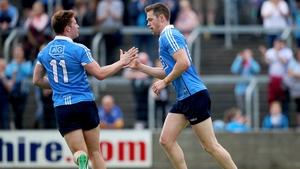 Dublin's Dean Rock celebrates scoring a goal with Ciaran Kilkenny