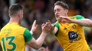 Donegal's Hugh McFadden celebrates his goal with Patrick McBrearty