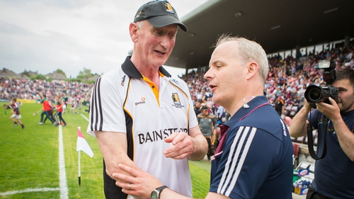 Micheál Donoghue shakes hands with Brian Cody after the Pearse Stadium clash