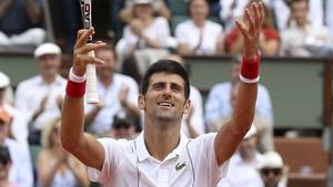 Novak Djokovic salutes the crowd