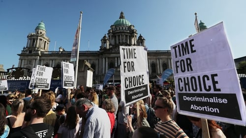 Protests were held earlier this year calling for a change to legislation in Northern Ireland