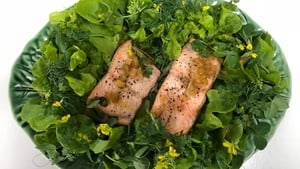 Roast Wild Salmon with Lettuce Leaves, Pea Tendrils, Leaves and Flowers and Preserved  Lemon Dressing