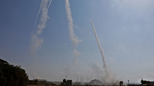 Israeli military launch a missile from a position in the southern Israeli city of Ashkelon
