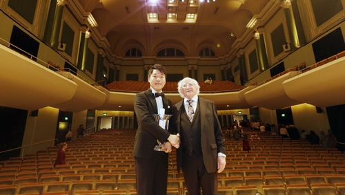 Dublin International Piano Competition winner Sae Yoon Chon with DIPC Patron Preseident Michael D Higgins.