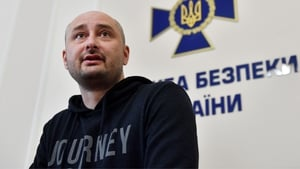 Arkady Babchenko appeared at a news conference in Kiev this afternoon